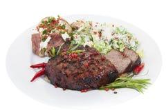 Steak-Abendessen des zarten Lendenstücks Stockbilder