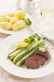 Steak with Asparagus Stock Photos