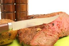 Steak baked potato & salt & pe. Picture of steak baked potato & salt & pepper Stock Photos