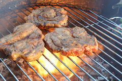 Steak on Barbecue Grill Stock Image