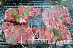 Steak on  barbeque Stock Image