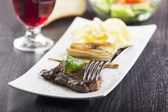 Steak with basil Royalty Free Stock Photo