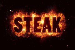 Steak bbq grill Party text on fire flames explosion Stock Images