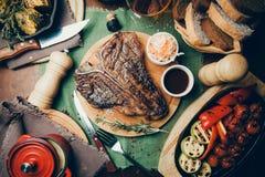 Steak. Beef steak on the bone. Yekaterinburg, Russia stock photos