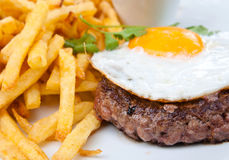 Steak beef meat and egg Royalty Free Stock Photography
