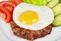Steak beef meat with fried egg Stock Photo