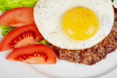 Steak beef meat with fried egg Royalty Free Stock Image