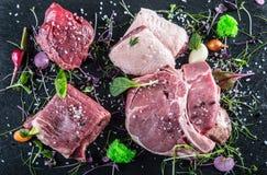 Steak.Beef steak.Meat.Portioned meat.Raw fresh meat.Sirloin steak.T-Bone steak. Flank steak. Duck breast. Vegetable decoration. Royalty Free Stock Images