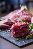 Steak.Beef steak.Meat.Portioned meat.Raw fresh meat.Sirloin steak.T-Bone steak. Flank steak. Duck breast. Vegetable decoration. Royalty Free Stock Photos
