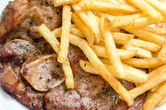 Steak beefsteak with french fries Stock Image