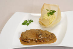 Steak with black pepper sauce Stock Image