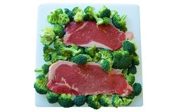 Steak and Broccoli. Ready to cook Royalty Free Stock Photography