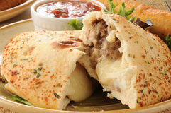 Steak and cheese calzone Royalty Free Stock Photo