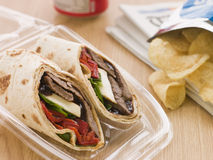 Steak, Cheese, Red Pepper Tortilla Wrap Stock Photography