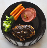 Steak, chicken  black pepper sauce on a plate thailand Royalty Free Stock Photography