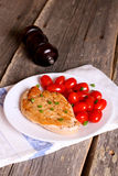 Steak chicken breast with cherry tomatoes stock photo