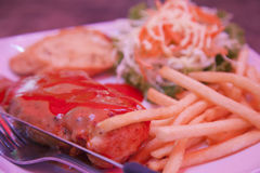 Steak, chicken and fries Royalty Free Stock Images