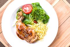 The Steak, chicken with salad in dish on wood Stock Photography