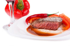 Steak with chili pepper Royalty Free Stock Photography