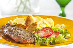 Steak and chips Royalty Free Stock Images
