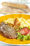 Steak and chips stock image