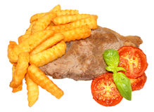 Steak And Chips With Grilled Tomatoes Royalty Free Stock Images