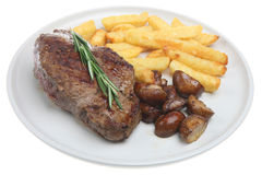 Steak, Chips & Mushrooms Stock Photos