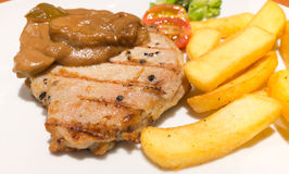 Steak and chips is very good protein and enegy source. Royalty Free Stock Photography