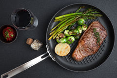 Steak. Close up view on nice fresh steak on color background royalty free stock photos