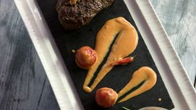 Steak with cognac sauce. stock video footage