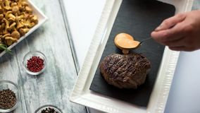 Steak and cognac sauce. stock video footage