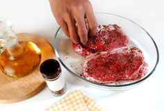 Steak cook preparations Royalty Free Stock Images