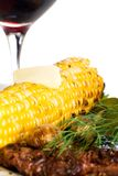 Steak, corn and wine for dinner Stock Photography