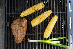 Steak, Corn y Scallion. A piece of Steak with scallions and corn Stock Images