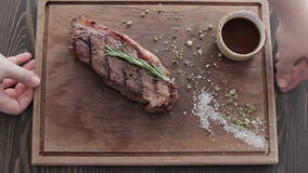 Steak on a Cutting Board in the Restaurant stock video footage