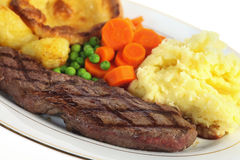 Steak dinner closeup Stock Photo