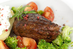 Steak Dinner , Fillet Mignon- Juicy Grilled, Peppe Royalty Free Stock Photography