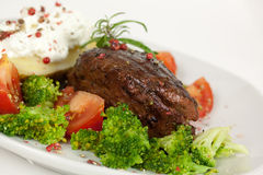 Steak dinner , Fillet Mignon- juicy grilled, peppe Stock Image
