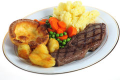 Steak dinner isolated Stock Photography