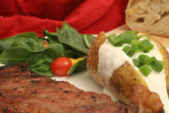 Steak dinner upclose. Isolated photo of a steak dinner upclose Stock Image