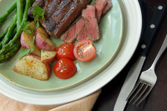 Steak Dinner with Vegetables Royalty Free Stock Photos