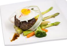 Steak with eggs Royalty Free Stock Photography