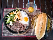 Steak and eggs royalty free stock photo