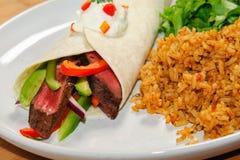 Steak Fajita. With mexican rice and salad Stock Photo