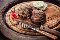 Steak filet mignon. Beef steak filet mignon and butter with herbs Royalty Free Stock Images