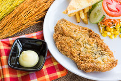 Steak fish dolly wite salad withFrench fries on sack background Stock Photography