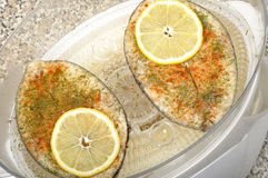 Steak fish in food steamer Royalty Free Stock Photos