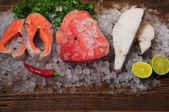 Steak fish under salting. Close-up salmon, tuna, halibut stock image