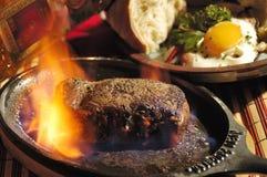 Steak flambée Royalty Free Stock Images