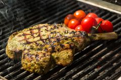 Steak flame broiled on a barbecue. With vegetables. shallow depth of field royalty free stock photos
